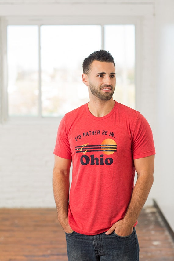 I'd Rather Be In Ohio Mens Screen Printed T-Shirt