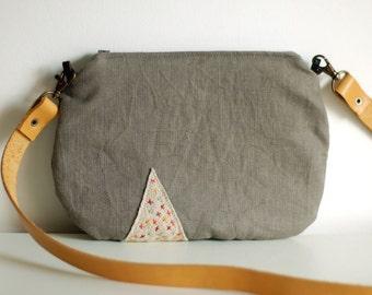 Hand embroidered minimalist handbag, grey linen, crossbody leather strap