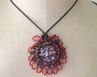 Sun moon glass pendant, beaded sun on short 40 cm adjustable cord necklace, gift for women, red face bead embroidered stocking stuffer