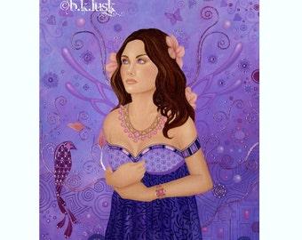 Original Oil Painting Art Nouveau Thai Indian India Fairy Goddess in Purple Violet LavenderLusk