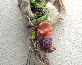 Green Witch on whisk, Assenblage art doll, handcrafted textile doll, Moon Goddess, Equinox Moon, rustic art doll, shabby decor, wall art