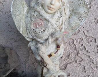 Serenity Angel, Textile art doll, Assemblage Art Doll  OOAK, Yule tree topper