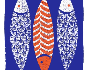 Modern Art Screenprint Scandinavian Style  - 3 Fish Art Print - Indigo Wall Art - Silkscreen Modern Print Kitchen Art - Three Fishes