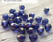 Czech glass beads -  faceted round beads halo ultramarine blue pack of 20
