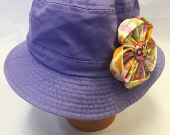 Girl's Sunhat in Lavender with Fabric Flower- infant  toddler sunhat