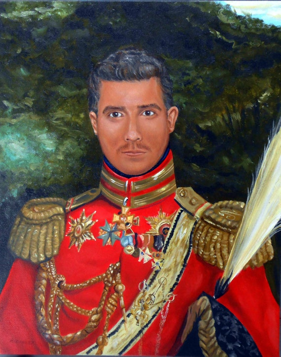 Custom Portrait Painting, Your Man in 19th Century General Uniform, from your Photos, Groomsmen Gifts