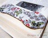Rosebud Book Weight - Merlot, Red, Green, Grey, Off-White - Flowers and Leaves - Rose Floral Fabric