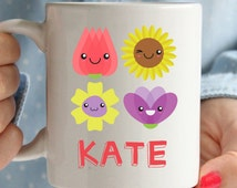 Beautiful personalised flower mug, really lovely happy adorable gift
