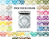 Auto Pocket - Damask - PICK YOUR COLOR - Car Accessory Automobile Caddy