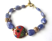 Unique Tanzanite Beaded Bracelet, Blue and Gold Modern Tanzanite Fashion Jewelry, Gemstones and Gold, Oval Taqnzanite Bracelet, Mothers Day