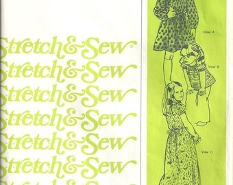 Stretch & Sew 905 Girls Peasant Dress 70s Vintage Sewing Pattern Chest 21, 22, 23, 24, 25, 26, 27
