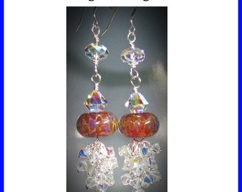 Tutorial for DIY Handcrafted Earrings Swarovski Dangle Lampwork Beads and Sterling Silver