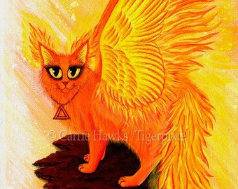 Fire Cat Art Cat Painting Elemental Winged Phoenix Flames Fantasy Cat Art Limited Edition Canvas Print 8x10 Art For Cat Lover