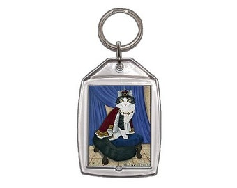 King Cat Keychain Royal Cat Regal Cat Prince Anakin The Two Legged Cat Fantasy Cat Art Keychain Keyring Gifts For Cat Lovers