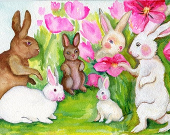 Bunnies watercolor painting original, nursery art, rabbit painting, bunny painting, bunny art, watercolor bunnies, bunny nursery