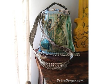 Pray For An Angel, Bag, Original Painting, Blue, Green, Silver, Artful, Fringe, Buttons, Boho, Arty Bag