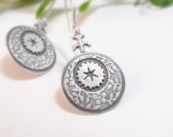 Sterling Silver Earrings, Handmade Dangle Earrings, Round Earrings, Drop Earrings