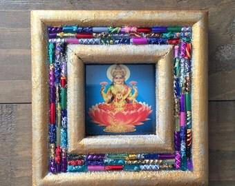 Hindu Goddess Lakshmi Upcycled Glass Mosaic Frame