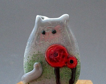 PoppyCat Bead Handmade Lampwork Focal - Renatta FatCat