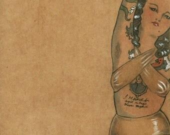 Tattooed Lady, original drawing by Johanna Öst