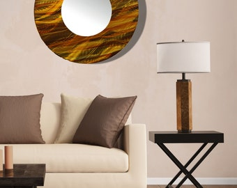 Gold & Copper Modern Metal Wall Mirror, Contemporary Circle Wall Mirror Accent,  Round Abstract Hanging Mirror Art - Mirror 115 by Jon Allen