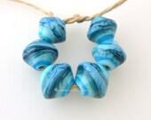 Glass Lampowrk Beads Bicone Set - SEA WAVES Graduated Handmade - TANERES Turquoise Blue