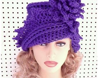 Purple Cloche Hat,  Womens Crochet Hat Womens Hat 1920s,  Iris Purple Hat,  Lauren 1920s Cloche Hat Crochet Flower