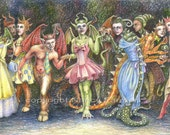 SALE! - Masquerade II - 'Being People' - signed fantasy art print