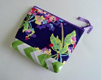 Zipper Pouch Make up Bag - Navy Blue Purple Cosmetic Pouch - Amy Butler Zipper Pouch - Green Chevron Pouch - Green Blue Pouch