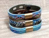 Leather & Brass Bead Bracelet, with Digital Photo Print on 100% Genuine Leather Birds, Trees, Ocean, Adjustable Size