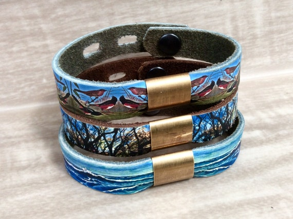 Leather & Brass Bead Bracelet, with Digital Photo Print on 100% Genuine Leather Birds, Trees, Ocean, Adjustable Size