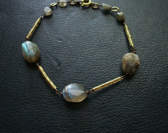 mysterion - labradorite repurposed bracelet with victorian found objects - delicate occult jewelry