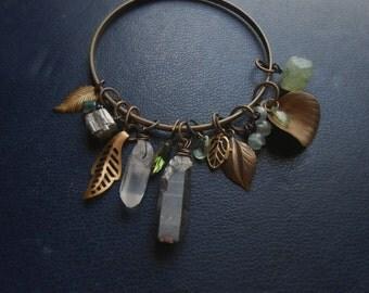 sale - wood witch bangle bracelet ii - pyrite crystal quartz agate beaded charm bracelet goth dark bohemian witchy occult