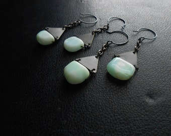 reduced - melt and muse - peruvian opal triangle earrings - aquamarine opal copper handmade edgy minimalist jewelry for women