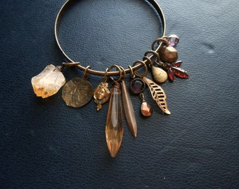 the bohemian - bangle bracelet with citrine repurposed rhinestones beaded charm bracelet goth dark bohemian witchy occult