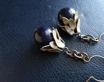 sale - serpentine scales - blue goldstone beaded earrings with scaley petal details - occult inspired festival fashion
