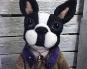 Abner Needle Felted Boston Terrier Doll Sculpture