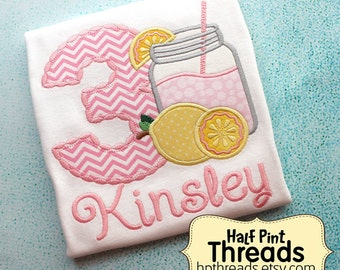 CUSTOM ORDER Personalized Pink and Yellow Lemonade Third Birthday Embroidered Shirt or Bodysuit Photo Prop
