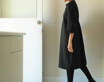 BLACK WOOL DRESS / woffle 3/4 sleeve / wool tunic / women / winter / autumn / australia / handmade / pamelatang