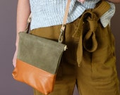 Small Suede & Leather Clutch, Crossbody Leather Handbag Caramel Tan Leather and Olive Suede; IBIS CLUTCH, Petite, Tan and Olive- Awl Snap
