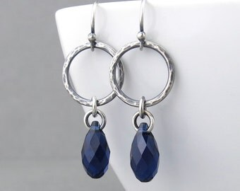 Simple Silver Earrings Rustic Earrings Navy Blue Crystal Earrings Silver Hoop Earrings Boho Jewelry Hammered Silver Jewelry - Annabelle