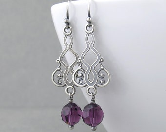 Dainty Purple Earrings Amethyst Earrings Crystal Earrings Crystal Drop Earrings Crystal Jewelry Gift Under 50 - Moroccan Dreams