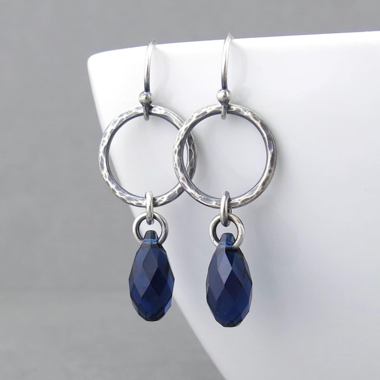 Simple Silver Earrings Rustic Earrings Navy Blue Crystal