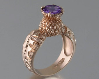 BLOOMING THISTLE 14k rose gold ring with Amethyst