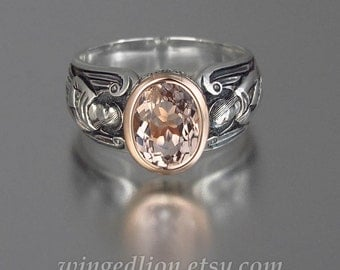 GUARDIAN ANGELS silver and 14k rose gold ring with Morganite