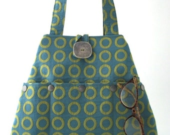 tote handbag, shoulder bag purse, blue tote bag, fabric purse, blue handbag, shoulder bag, multi pocket bag, polka dots bag