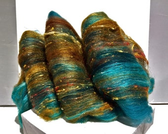 "Teal fiber art batt, wool, roving, ""Verdigris"" spinning, felting, Aqua, turquoise, rust, topaz, copper, sienna, teal"