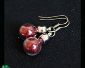 Hollow glass dome earrrings: little red ornaments
