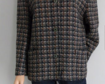 Womens Plaid Checked Tweed Wool with Linning Jacket, Coat, or Blazer Size Large