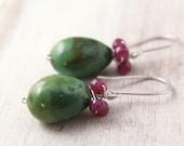 Turquoise Egg and Ruby Bundle Earrings